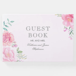 Pink Floral Bouquet Watercolor Wedding Guest Book