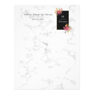 Pink Floral Bouquets on a White Marble Image Letterhead