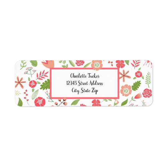 Pink Floral Bouquets - Return Address Label