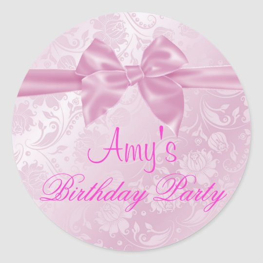 Pink Floral Bow Sticker