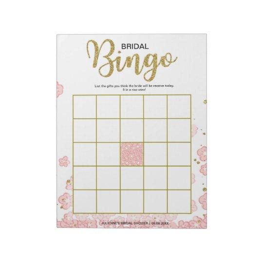 Pink Floral Bridal Bingo Notepad