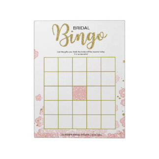 Pink Floral Bridal Bingo Notepads