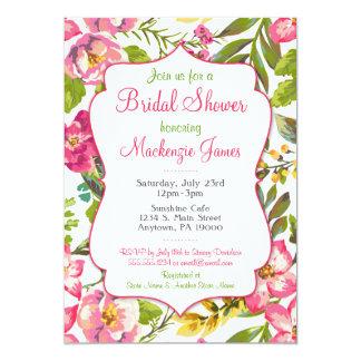 Pink Floral Bridal Shower Invitation Spring