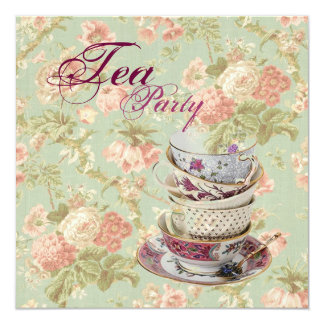 Pink Floral Bridal Shower Tea Party Invitation