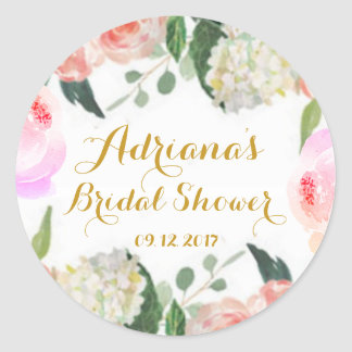 Pink floral bridal shower Watercolor peonies stick Classic Round Sticker