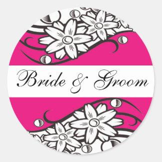 Pink Floral bride & Groom Wedding Envelope Seals Round Stickers