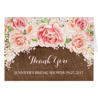 Pink Floral Brown Wood Bridal Shower Thank You Card