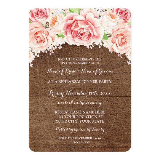 Pink Floral Brown Wood Rehearsal Dinner Party Card