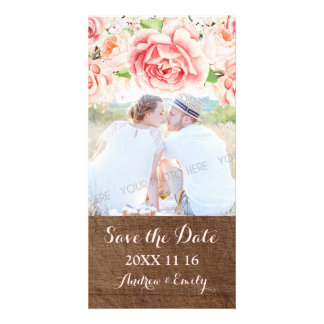 Pink Floral Brown Wood Save the Date Wedding Photo Personalized Photo Card
