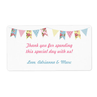 Pink Floral Bunting Baby Shower Favor Label