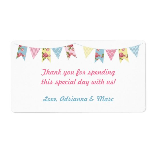 Pink Floral Bunting Baby Shower Favour Label Shipping Label