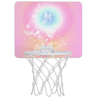 Pink Floral Butterfly Girly Mini Basketball Hoop
