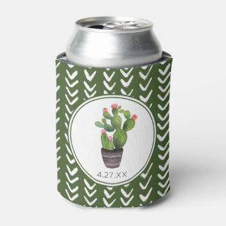 Pink Floral Cactus Can Cooler