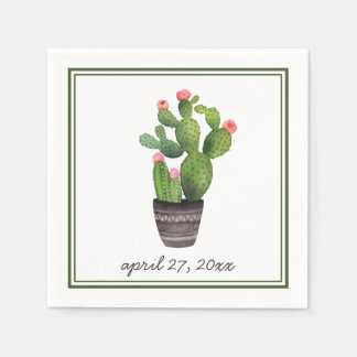 Pink Floral Cactus Disposable Napkin
