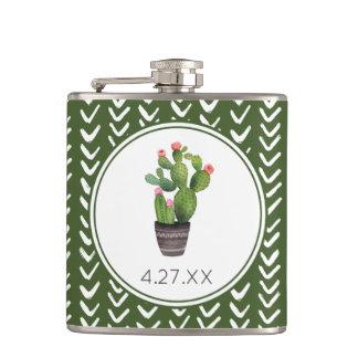 Pink Floral Cactus Hip Flask