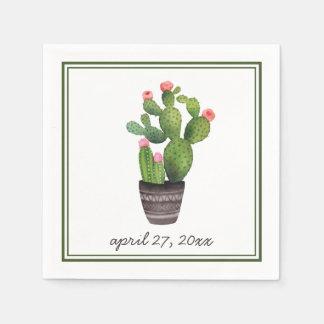 Pink Floral Cactus Napkin
