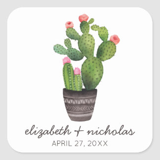 Pink Floral Cactus Square Sticker