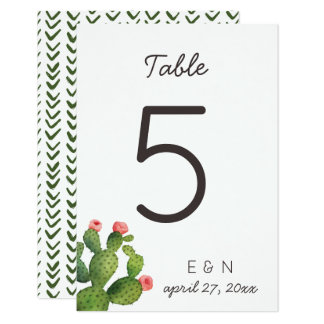 Pink Floral Cactus - Table Number