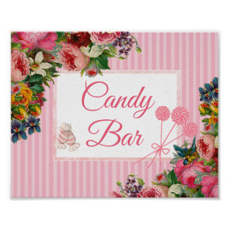 Pink Floral Candy Bar Wedding Sign Poster