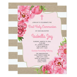 Pink Floral + canvas First Communion invite