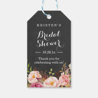 Pink Floral Chalkboard | Bridal Shower Thank You Pack Of Gift Tags