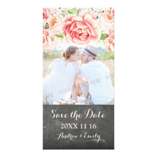 Pink Floral Chalkboard Save the Date Wedding Photo Card