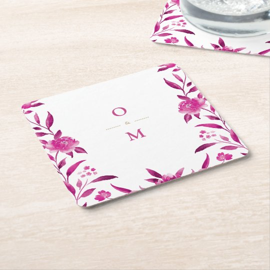 Pink floral Chinoiserie Wedding monogram Square Paper Coaster
