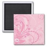 pink floral composition fridge magnet