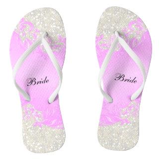 Pink Floral & Confetti Glitter | Wedding Flip Flops