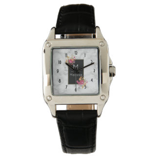 Pink Floral Corner Bouquets on Black Frame Custom Watch