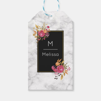 Pink Floral Corner Bouquets on Black Frame Gift Tags