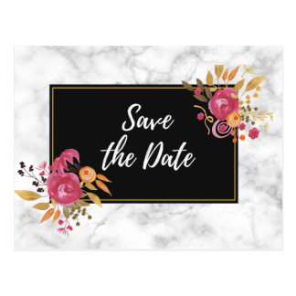 Pink Floral Corner Bouquets on Black Save The Date Postcard