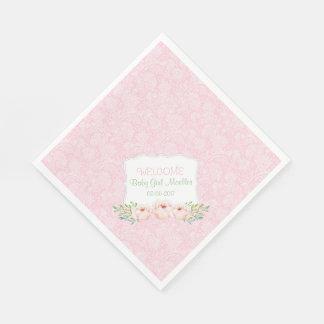 Pink floral Damask Napkin / girl baby shower Disposable Napkins