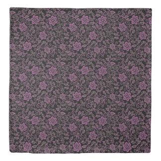 Pink Floral Damask Pattern on Black or Any Color Duvet Cover