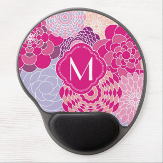 Pink Floral Design Modern Abstract Flowers Gel Mousepads