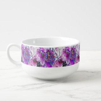 Pink Floral Design Soup Mug