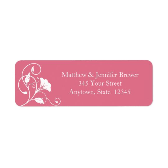 Pink Floral Envelope Return Address Labels