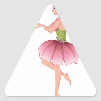 Pink Floral Fairy 5 Triangle Sticker