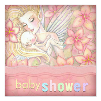 Pink Floral Fairy Mother and Infant Baby Shower Card