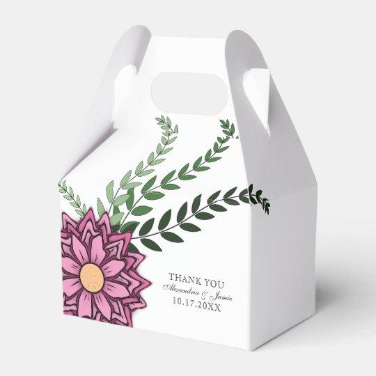Pink Floral Favour Box Favor Boxes