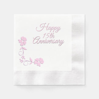 Pink Floral First Anniversary Disposable Napkins