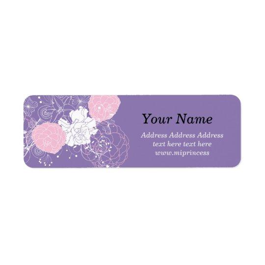 pink floral flower, boutique Return Address Labels