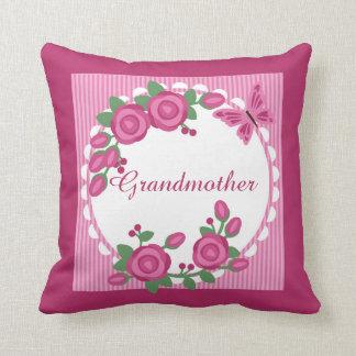 Pink Floral Frame Grandmother Throw Pillow