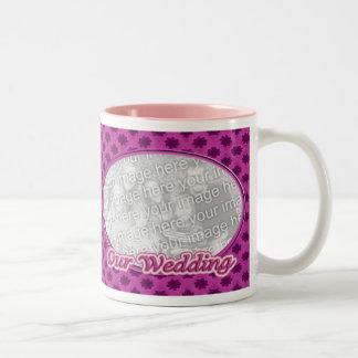 pink floral frame Our Wedding Two-Tone Mug