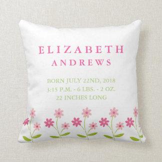 Pink Floral Garden Baby Girl Announcement Pillow