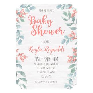 Pink Floral Girl Baby Shower Invitation