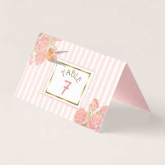 PInk Floral Gold Bird Wedding Table Number Place Card