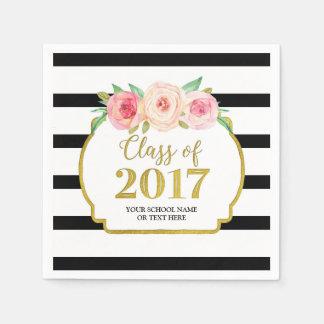 Pink Floral Gold Black Stripes 2017 Graduation Disposable Napkin
