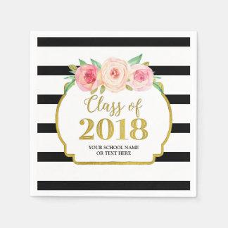 Pink Floral Gold Black Stripes 2018 Graduation Paper Napkins