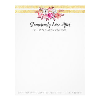 Pink Floral & Gold Glam Watercolor Modern Stripe Letterhead
